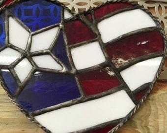 Flag Heart Sun Catcher - American Flag Art, Glass Art Sun Catcher, Window Art, Decor
