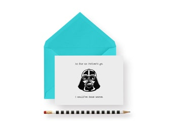 Funny Father's Day Card- darth vadar star wars father's day card-  -card- blank, valentine's day, birthday