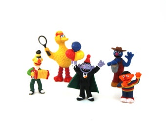 Vintage 80s toys Sesame Street lot of 5
