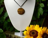 Circular Healing Protective Tiger's Eye Crystal Pendant Necklace
