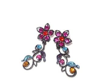 Colorful Rhinestone Flower Earrings - Gunmetal - Beading Supplies