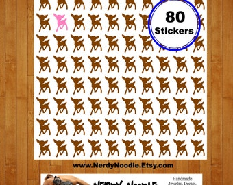 Deer Planner Stickers, Doe Planner Stickers, 80, Deer Stickers, Doe Stickers, Deer Envelope Seals, Doe Envelope Seals, Deer Scrapbook