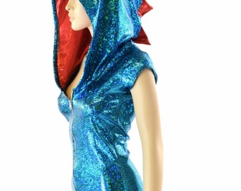 Turquoise Shattered Glass Holographic Zipper Front Cap Sleeve Hoodie Romper with Red Metallic Spikes & Hood Lining  152224