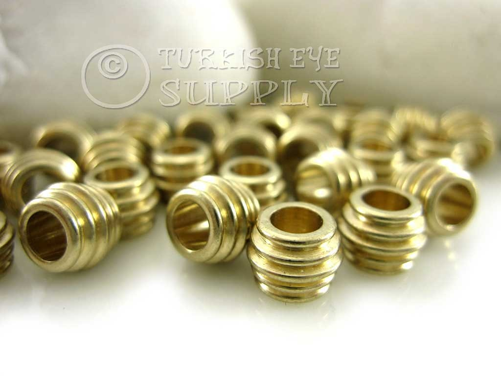 Raw brass tiny tube spacer beads ring findings