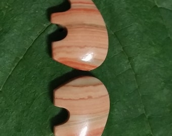 Strawberry Marble Bear Cabochon Pair/Mojave Desert