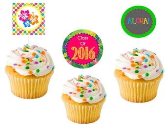LUAU cupcake toppers (Instant download!)