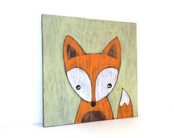 Fox Art - Rustic Nursery Art - Woodland Nursery Decor - Fox Painting - Woodland Fox - Fox Nursery Decor - Woodland Animal - Woodland Critter