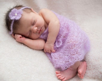 Pattern- Crochet Newborn Baby Girl Mohair Lace Shell Dress with Flower Tie Back Headband Photo Prop, Crochet Newborn Photography Outfit