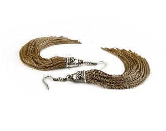 Tassel Earrings, Long Bronze Tassel Earrings, Fringe Earrings, Boho Earrings, Tassel Jewelry, Tassle Drop Earrings, Gifts for Her