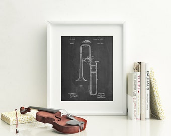 Slide Trombone Patent Poster, Music Room Decor, Band Director, Jazz Art, Trombone Art, PP0261