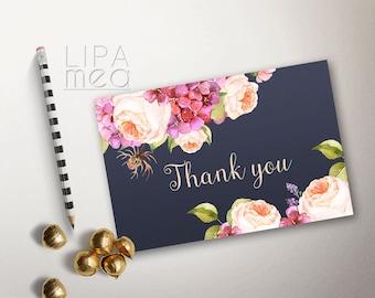 Printable Thank you Card, Floral Thank you Card, Wedding Thank you Card, Shower Thank you Card, Boho Thank you Card, Navy & Pink Thank you