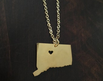 Connecticut Necklace, Connecticut, gold Connecticut necklace, Connecticut jewelry, Connecticut pendant, state necklace, state, necklace