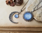 2 Moon and Sun Necklaces, matching necklaces, best friends necklaces, bff jewelry, bff gift, moon necklace, sun necklace, Ice Blue Necklace