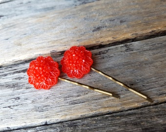 ON SALE Set of 2 hair pins, Red Flower bobby pins, Red Flower hair pins, boho hair accessories, floral bobby pins, bridal flower hair pin