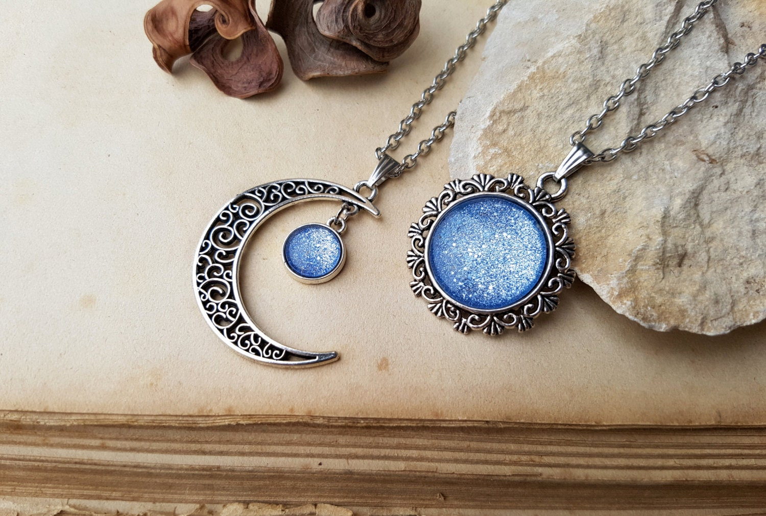 2 Moon and Sun Necklaces matching necklaces best friends