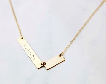 Customized two unbalanced gold bar / silver  necklace -Personalized name plate necklace EP030