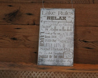 Lake Rules Sign Lake house decor Cabin Decor Custom to your rules laser engraved