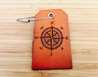 Leather Luggage Tags, Personalized Travel Tags, Compass Rose Suitcase Tags, Quote, Baggage Tags, Guest Wedding Favor,  Identification Tags,