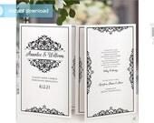 SALE! DiY Printable Wedding Program Template - Instant Download - EDITABLE TEXT - Natalia (Black) - Microsoft® Word Format
