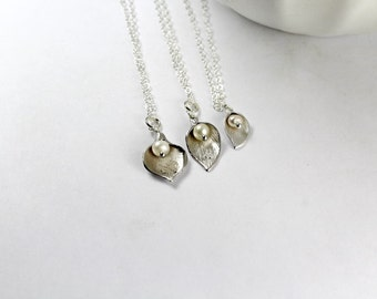 Grandmother mother daughter necklace set, 3 Generations necklace set,Silver Calla Lily Necklace,Mother Daughter Neckalce Set,