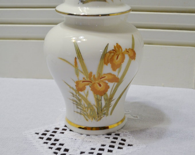 Vintage Ginger Jar with Lid Iris Flower Design Asian Home Decor Japan PanchosPorch
