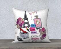 Paris pillow cover, Paris décor, Chanel pillow case, Chanel throw, Chanel décor, Paris bedroom décor, Paris throw pillow, Chanel bedroom