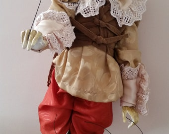 Magnificent Vintage Puss-in-Boots Marionette. Very Tall Puppet.