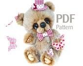 """PDF Pattern teddy bear Butterfly juggler 7.8"""", teddy bear pattern, ePattern, Instant Download, artist bear pattern"""