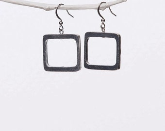 Square Shape Pewter Earrings, Hypoallergenic Stainless Steel Ear Wire
