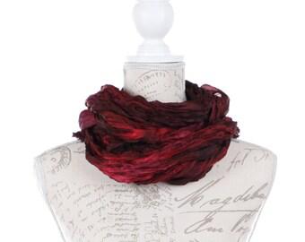 Burgundy silk wrinkled scarf for women /  No iron dark red wrinkled silk scarf  /  red crinkle silk scarf / 100% habotai silk/ Shibori
