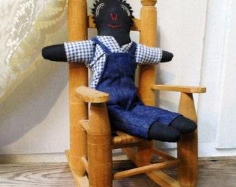 Black Americana Doll- Folk Rag Doll- Vintage Handmade Cloth Doll-Denim Overalls-Cute Hand Sewn Rag Bag Dolly-Hand Stitched-Orphaned Treasure