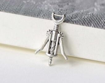 Corkscrew Wine Opener Charms Antique Silver Finish Pendants 17x26mm Set of 10 pcs A8242
