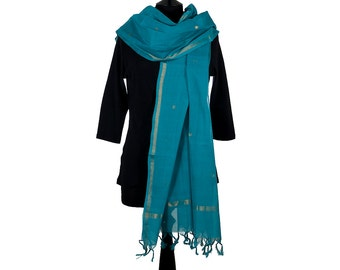 CHETTINAD SCARF - Turquoise with Gold Brocade