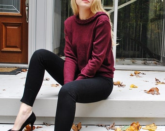 Burgundy Fleece Like Brushed Sweater Knit Fabric