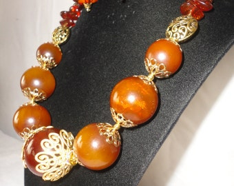 Single Strand Round Nugget Amber Necklace Set.