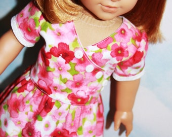 18 Inch Doll (like American Girl) Pink and White Floral Faux Wrap Dress