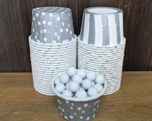 48 Silver Polka Dot and Stripe Candy Cups--Silver Nut Cups--Wedding Supply--Baby Shower--Birthday Party--Silver Portion Cup