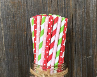 Red Paper Straws, Strawberry Shortcake Straws, 100 Birthday Straws, Baby Shower, Wedding Supply,  Free Shipping