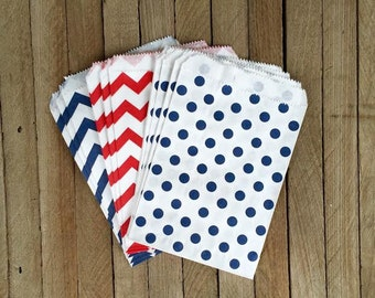 48 Red and Blue Favor Bag--July Favor Sack--Patriotic Candy Favor Bag--Chevron Goodie Bag--Polka Dot  Party Sack-Birthday Treat Sack-