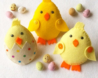 Felt Chick Ornaments PDF Sewing Pattern and Tutorial, Instant Download, Easy Step-by-Step Instructions