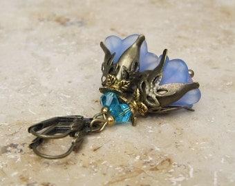 """Earrings """"Elf magic"""" light blue turquoise bronze"""