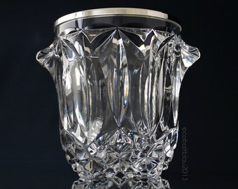 Ice Bucket Crystal Glass Silver Rim / Bar Cart Accessories