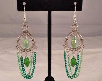 Dual Green Crystal Earrings
