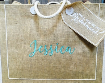 """Embroidered Burlap """"Will You Be My Bridesmaid?"""" Tote Bag. Wedding party. Bridesmaid gift. Bridal luncheon. Gift. Maid of Honor. Bridesmaid."""