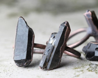 Crystal Ring Electroformed Copper Ring Raw Black Crystal Large Crystal Ring Rustic Gemstone Large Ring