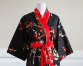 Kimono Robe • Womens Long Mid calf robe • Custom Dressing gown • Bademantel • Plus Sizes • Hospital Gown • Cotton Yukata • GG Black Red Gold