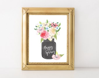 Spring Decor - Floral Print - Watercolor Print - Watercolor Flowers - Spring Art - Glass Jar Decor - Chalkboard Art - Spring Sign