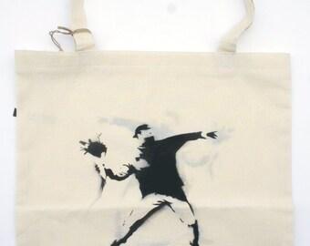 Handmade Eco Tote Bag The Flowerthrower Banksy