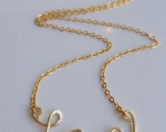 Love Necklace Silver or Gold Plated