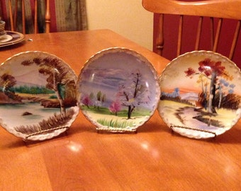 Beautiful Handpainted Set of Scenic Small Plates By T.M.J. Japan